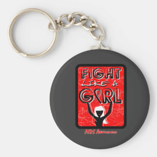 Fight Like A Girl Slogan Sign AIDS Key Chains