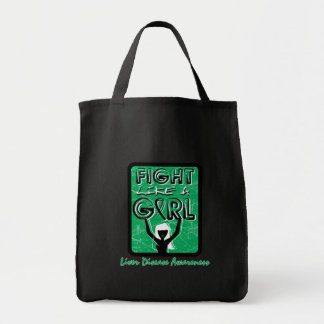 Fight Like A Girl Slogan Sign Liver Disease Tote Bag