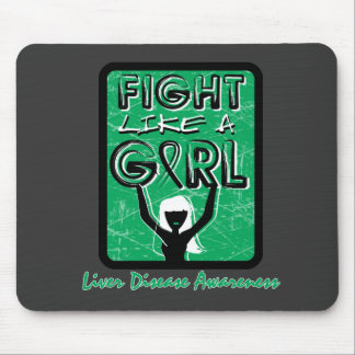Fight Like A Girl Slogan Sign Liver Disease Mousepads