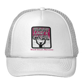 Fight Like A Girl Slogan Sign Throat Cancer Cap