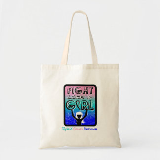 Fight Like A Girl Slogan Sign Thyroid Cancer Budget Tote Bag