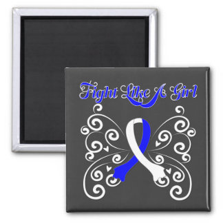 Fight Like A Girl Stylish ALS Square Magnet