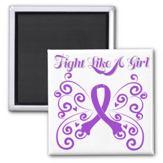 Fight Like A Girl Stylish Alzheimer's Disease Square Magnet