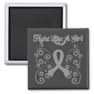 Fight Like A Girl Stylish Brain Cancer Square Magnet