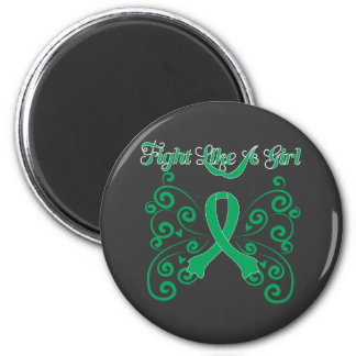 Fight Like A Girl Stylish Butterfly Liver Disease 6 Cm Round Magnet