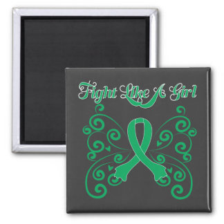 Fight Like A Girl Stylish Butterfly Liver Disease Square Magnet