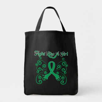 Fight Like A Girl Stylish Butterfly Liver Disease Grocery Tote Bag