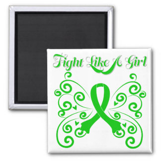 Fight Like A Girl Stylish Butterfly Mental Health Square Magnet