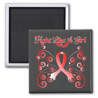 Fight Like A Girl Stylish Butterfly Oral Cancer Square Magnet