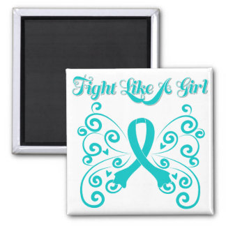 Fight Like A Girl Stylish Butterfly Ovarian Cancer Square Magnet