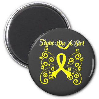 Fight Like A Girl Stylish Butterfly Sarcoma 6 Cm Round Magnet