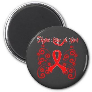 Fight Like A Girl Stylish Butterfly Stroke 6 Cm Round Magnet