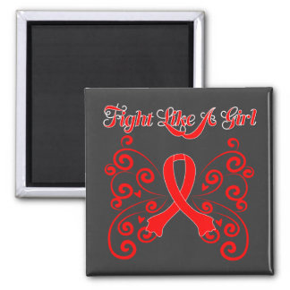 Fight Like A Girl Stylish Butterfly Stroke Square Magnet