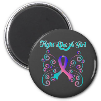 Fight Like A Girl Stylish Butterfly Thyroid Cancer Fridge Magnets