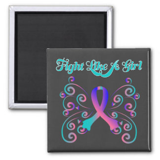 Fight Like A Girl Stylish Butterfly Thyroid Cancer Square Magnet