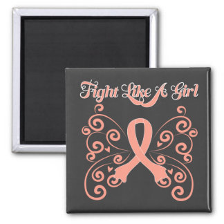 Fight Like A Girl Stylish Butterly Uterine Cancer Magnet