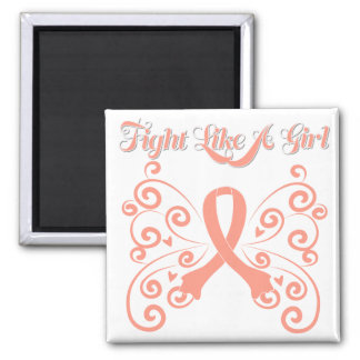 Fight Like A Girl Stylish Butterly Uterine Cancer Magnets