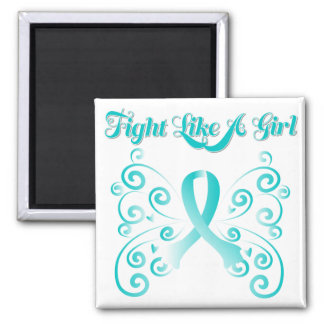 Fight Like A Girl Stylish Cervical Cancer Square Magnet
