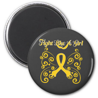 Fight Like A Girl Stylish Childhood Cancer 6 Cm Round Magnet