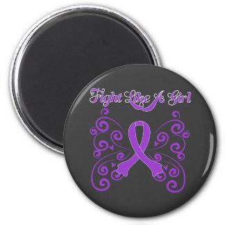 Fight Like A Girl Stylish Crohn's Disease 6 Cm Round Magnet