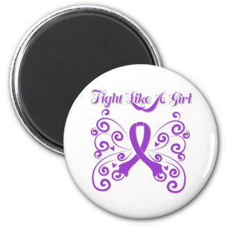 Fight Like A Girl Stylish Domestic Violence 6 Cm Round Magnet