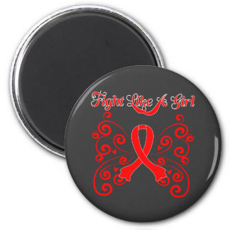 Fight Like A Girl Stylish Heart Disease 6 Cm Round Magnet