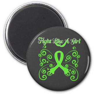 Fight Like A Girl Stylish Non-Hodgkin's Lymphoma 6 Cm Round Magnet