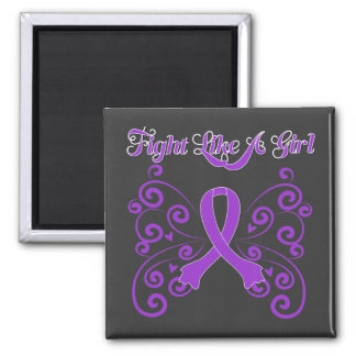 Fight Like A Girl Stylish Pancreatic Cancer Square Magnet