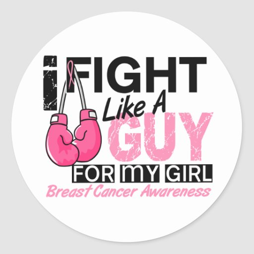 Fight Like A Guy Breast Cancer Round Sticker
