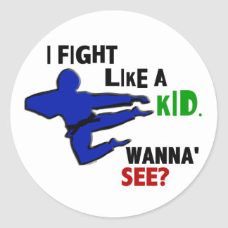 Fight Like A Kid 1 Classic Round Sticker