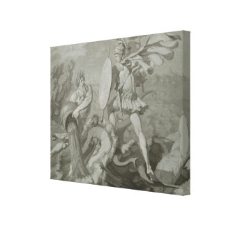 Fight of Achilles with the River Scamander Stretched Canvas Print
