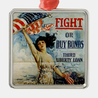 Fight or Buy Bonds Square Metal Christmas Ornament