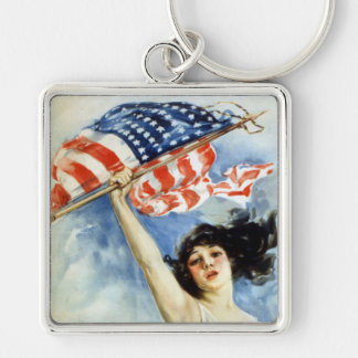 Fight Or Buy Bonds, Vintage WWI Poster Silver-Colored Square Key Ring