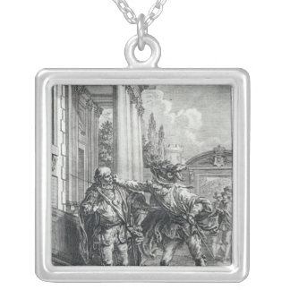Fight scene silver plated necklace
