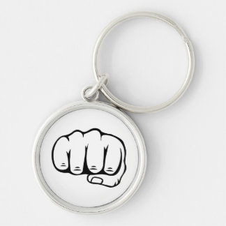 fight Silver-Colored round key ring