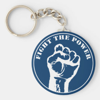 Fight The Power Basic Round Button Key Ring