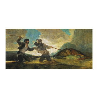 Fight with Cudgels by Francisco Goya c 1820 Canvas Print