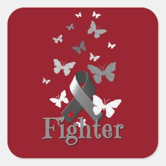 Fighter Diabetes Awareness Ribbon Square Sticker