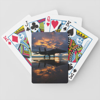 Fighter Jet Airplane at Sunset Military Gifts Bicycle Playing Cards