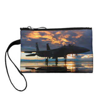 Fighter Jet Airplane at Sunset Military Gifts Coin Purse