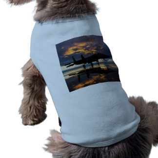 Fighter Jet Airplane at Sunset Military Gifts Sleeveless Dog Shirt