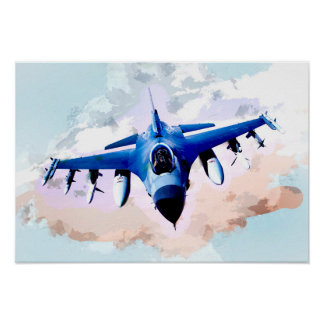 Fighter Jet in the Sky Painting Poster