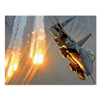 FIGHTER JET RELEASES HOT FLARES POSTCARD