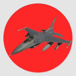 FIGHTER JET ROUND STICKER