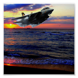 FIGHTER OVER SUNSET BEACH POSTER