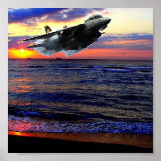 FIGHTER OVER SUNSET BEACH PRINT