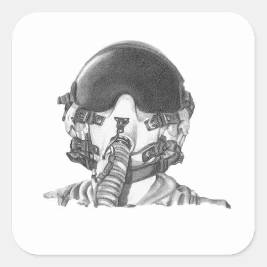 Fighter Pilot Square Sticker