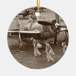 Fighter Pilots Training on P-47 Thunderbolts Christmas Ornament