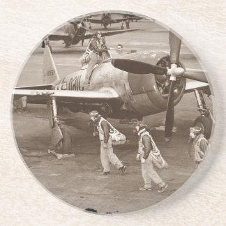 Fighter Pilots Training on P-47 Thunderbolts Drink Coaster