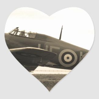 Fighter Scrambled For Take Off Heart Sticker